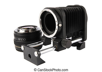 macro bellows and lens - macro bellows and 50mm lens with...