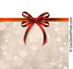 Red bow on a magical Christmas background. Vector