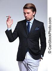 elegante, negócio, homem, olha, BAIXO, cigarro,...