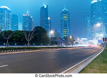 Shanghai Lujiazui Finance and Trade Zone modern city night...
