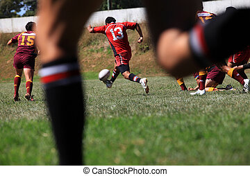 Rugby match - Men playing rugby union sport. New Zealand...