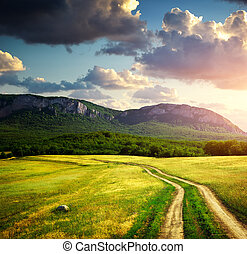 Road lane and mountain. Nature design.
