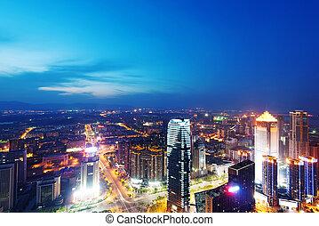 Bird view at Nanchang China. Skyscraper under construction...