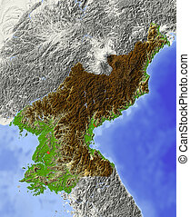 North Korea, shaded relief map - North Korea. Shaded relief...