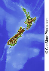 New Zealand, shaded relief map - New Zealand. Shaded relief...