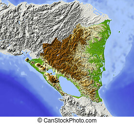 Nicaragua, shaded relief map - Nicaragua. Shaded relief map....