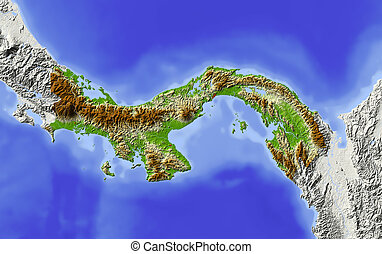 Panama, shaded relief map - Panama Shaded relief map...