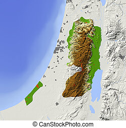 West Bank and Gaza Strip, shaded relief map - West Bank and...