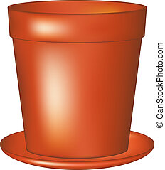 Empty flowerpot in terracotta colour on white background
