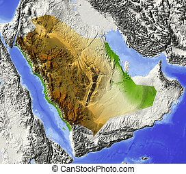 Saudi Arabia, shaded relief map - Saudi Arabia. Shaded...