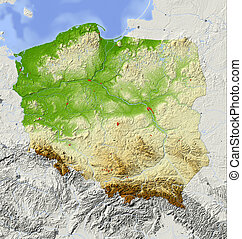 Poland, shaded relief map
