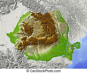 Romania, shaded relief map - Romania. Shaded relief map with...