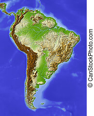 South America, shaded relief map
