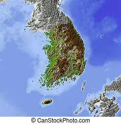 South Korea, shaded relief map