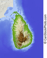 Sri Lanka, shaded relief map