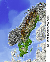Sweden, shaded relief map - Sweden. Shaded relief map, with...