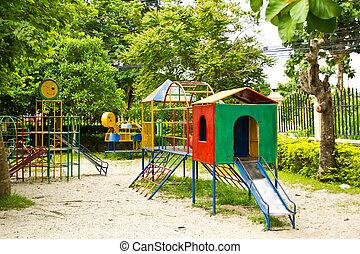 niños, resbaladeros, Escaleras, patio de recreo, equipo