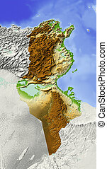 Tunisia, shaded relief map - Tunisia Shaded relief map...