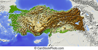 Turkey, shaded relief map - Turkey. Shaded relief map with...