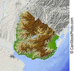 Uruguay, shaded relief map - Uruguay Shaded relief map with...
