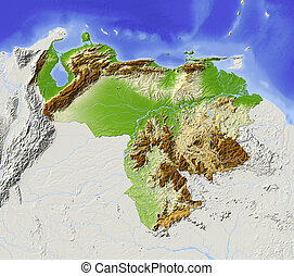 Venezuela, shaded relief map - Venezuela. Shaded relief map...