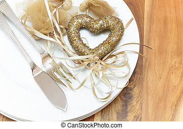 Table place setting for Valentines