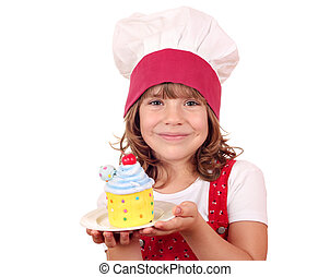 little girl cook with sweet cake