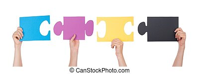 Pieces of a Puzzle - People Holding Pieces of a Puzzle,...