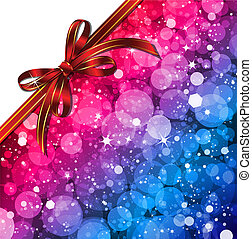 Magic Lights background with red bow. Vector