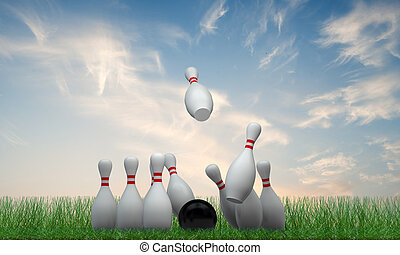 bowling pins on green grass