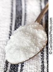 Sea Salt Flakes on Old Spoon - Sea salt flakes on old spoon.