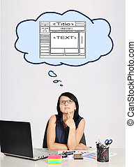 dreaming at web page - businesswoman sitting in office and...