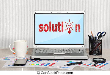 solution symbol on screen laptop in office