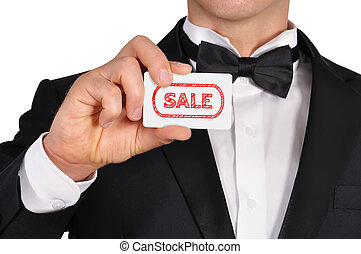 visiting card with sale - businessman holding visiting card...