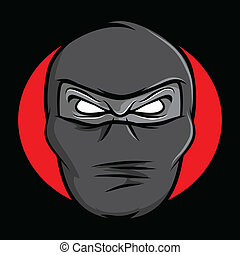 Ninja Face - Illustration of an angry masked ninja