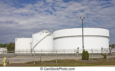 Fuel Tanks - Massive white fuel tanks holding gasoline and...
