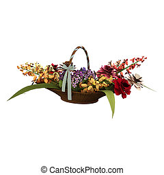 Basket of Flowers - 3D digital render of a broom and a...