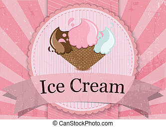 Ice cream Vintage style sign - Vector Illustration of Ice...