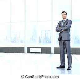 Full body portrait of young happy smiling cheerful business...