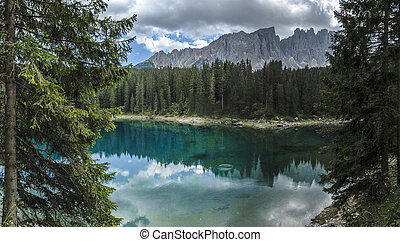 Carezza lake and Latemar, Dolomites - Carezza lake and...