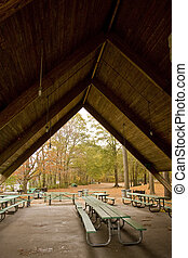 Picnic Tables Under Pavilion