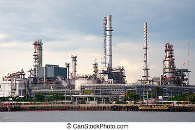 Oil refinery factory at river Thailand - Oil refinery...