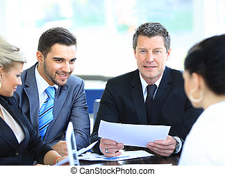 同事, 事務, 坐, 成熟, 微笑, 會議, 人