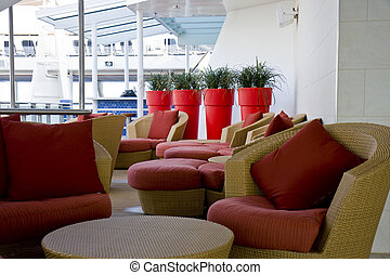 Shipboard Lounging Area - A comfortable lounging area on the...