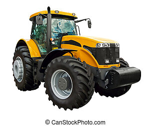 Yellow farm tractor - Yellow farm tractor on a white...