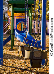 Swings on Blue Play Set - Colorful Playground Equipment in a...