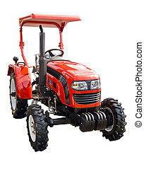 Red tractor on a white background