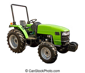 Green tractor on a white background