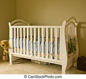 White Crib - A classic white crib in a baby\'s room