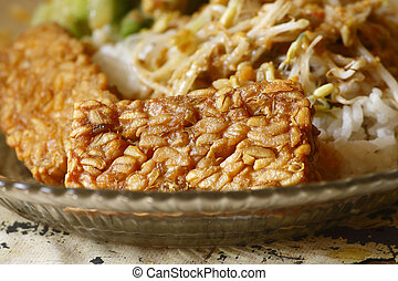 pecel rice with fried tempeh dishes - fried tempeh dishes